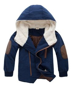 Girl's and Boy's Outwear Lightweight Fleece Lined Zip Up Hoodie Jacket (120cm, Navy Blue). Material:Cotton,Polyester. Zip-front coat with snap covered placket. Long sleeve winter jacket with hoodie,zipper closured,adjustable waistband and lower hem,elastic cuff. Breathable cotton soft material,super warm ,ventilate and comfortable,suitable for any occasion. Hand/Machine wash in cold water ,Drip dry. Do not bleach.