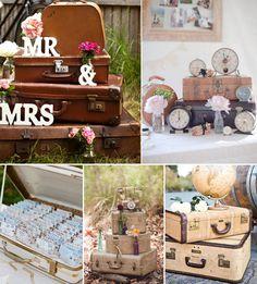 Maletas para decorar bodas con temática viajera