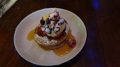 Pancakes with berries  Fresh Orange Juice  (Breakfast Club, Soho , London)