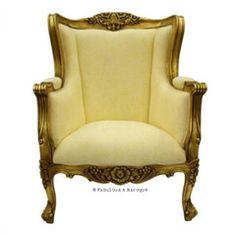 Aveline French Wing Back Chair - Antiqued Gold Leaf