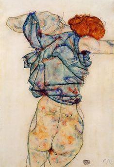 """""""Schiele: el trazo firme con el que dibuja las figuras (un trazo continuo, hecho sin levantar el lápiz), la soledad que reflejan las atmósferas que pinta, la ausencia de fondos en los retratos resaltando con ello la importancia de las figuras, el fuerte contenido erótico de su obra, la utilización puntual de prendas de marcado carácter erótico, como las medias, unas medias que suele resaltar a través de colores muy vivos…"""" Jorge Mantilla Caballero"""