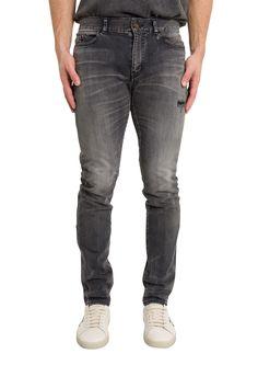 Saint Laurent Skinny Cotton Denim Jeans In Black Buckle Jeans Mens, Cropped Skinny Jeans, Skinny Fit, Black Cotton, Denim Jeans, Saint Laurent, Mens Fashion, Pants, Clothes