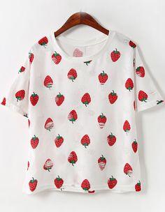 8,54T-shirt décontracté cerise imprimée - Blanc