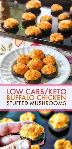 Buffalo Chicken Low Carb Stuffed Mushrooms - a keto appetizer or snack! These buffalo chicken low carb stuffed mushrooms make for a delicious low carb or keto appetizer f Low Carb Appetizers, Best Appetizers, Appetizer Recipes, Party Appetizers, Appetizer Ideas, Holiday Appetizers, Sausage Appetizers, Salmon Appetizer, Dessert Recipes