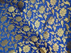 1 yard Silk Brocade Fabric - Pure Silk Fabric royal blue and gold in small Floral pattern Weaving for Wedding Dress Fabric