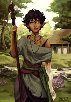 f Wood Elf Druid Staff deciduous forest farmland hills village Quinn lg Dungeons And Dragons Characters, Dnd Characters, Fantasy Characters, Female Characters, Druid Dungeons And Dragons, Fantasy Character Design, Character Creation, Character Design Inspiration, Character Art