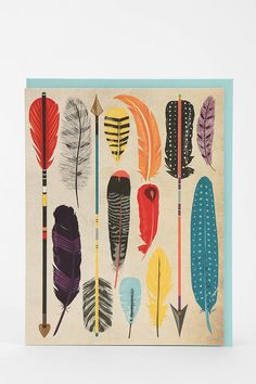 Paper Source Feather & Arrow Card - Set Of 8 - Urban Outfitters