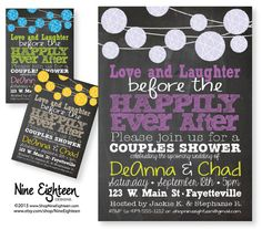 Couples Shower Invitation Love Laughter Happily by NineEighteen, $12.00