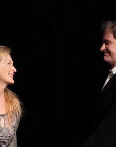 """Meryl Streep & Kevin Kline pictured during Curtain Call for the Public Theater Celebrates 50 Years at the Delacorte Theater with a Benefit Reading of """"Romeo And Juliet' in Central Park, New York City on June 18, 2012  © Walter McBride / WM Photography"""