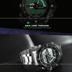High-end Sport Men LED watch black bezel quartz and analog-digital stainless steel strap Waterproof Watch-Forsining Watch Company Limited www.forsining.com