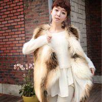 Mujeres de lujo del cuero chaleco de piel de invierno de piel de zorro chaleco suave caliente 6 8 10 12 14 para el envío libre