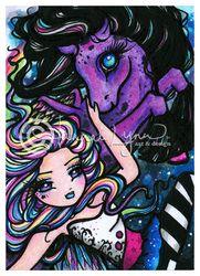 """Star chasers"" original watercolor pencil and ink fairy and unicorn artwork copyright Hannah Lynn 2013 www.HannahLynnArt.com"