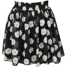 Black Floral Print Mini Skirt ($32) ❤ liked on Polyvore