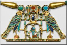 Detail, Pectoral of Princess Sit-Hathor-yunet, Middle Kingdom, Dynasty c. 1887 - 1813 BC But they don't belong to the Royals thou do tyey Ancient Egyptian Dress, Ancient Egyptian Jewelry, Egyptian Symbols, Egyptian Art, Egypt Jewelry, Long Pearl Necklaces, South Indian Jewellery, Egyptian Tattoo, Emerald Jewelry