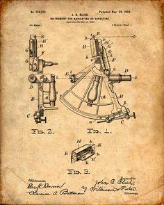 Se trata de una copia de la patente de un sextante de vela patente a partir de 1902. La patente original ha sido limpiada y mejorado para crear una pieza de exhibición atractiva para su hogar u oficina. Esto es una gran manera de poner tus intereses y aficiones en exhibición. Idea de regalo maravilloso también.  La imagen se imprime en papel ácido, profesional gratis, archivo mate arte dando la imagen de colores ricos y vibrantes.  Impresiones son empaquetadas en fundas libres de ácido…