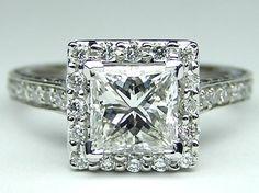 Engagement Ring - Princess Diamond Halo Engagement Ring Vintage gallery in 14K White Gold - ES921PR