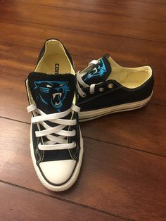 Hey, I found this really awesome Etsy listing at https://www.etsy.com/listing/245065673/carolina-panthers-chuck-taylors
