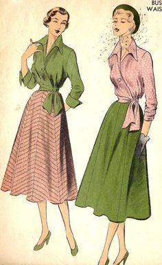 50's shirt dress pattern cuffed sleeves - Google Search
