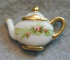 Handcrafted Porcelain Button Charming Teapot