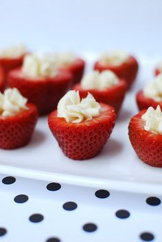 "Cream cheese filled strawberries via ""anna and blue paperie"" blog.  Would be good with cheesecake filling :)"