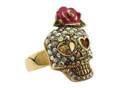 Betsey Johnson Skull & Rose Ring - Size 7. Starting at $1 on Tophatter.com!
