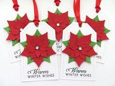 Flor de Pascua Navidad regalos, etiquetas Navidad, Navidad Favor etiquetas, Hang Navidad Etiquetas, etiquetas regalo, etiquetas de regalo de Nochebuena de vacaciones