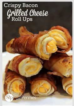 Bacon wrapped grilled cheese sticks