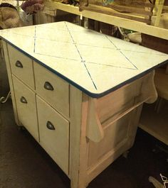 Upcycled cabinet kitchen island enamel top