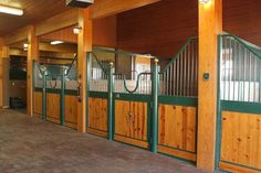 Designer Builders - Aiken SC - equestrian, stalls, barn, green trim, knotty pine