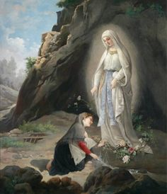 Virgilio Tojetti (Rome New York) Adoration of the Statue of the Virgin Mary in the Grotto at Massabielle near Lourdes, signed, dated Tojetti 1877 Ste Bernadette, Bernadette Of Lourdes, St Bernadette Soubirous, Catholic Art, Catholic Saints, Religious Art, Blessed Mother Mary, Blessed Virgin Mary, Catholic Pictures