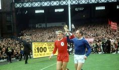 World Cup winner (Sir) Roger Hunt parades the Jules Rimet trophy with England teammate and Merseyside rival Ray Wilson just three weeks after England's 1966 World Cup win at the Charity Sheild at Goodison Liverpool Football Club, Liverpool Fc, Jules Rimet Trophy, Merseyside Derby, Bristol Rovers, England Shirt, 1966 World Cup, World Cup Match, Marco Reus