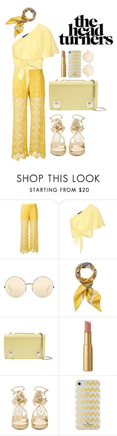"""sweet little sunshine"" by reinvents ❤ liked on Polyvore featuring Ermanno Scervino, Anna October, Victoria Beckham, Versace, Carven, Too Faced Cosmetics, Jimmy Choo and Kate Spade"