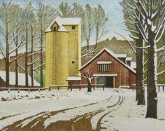 岡 鹿之助 Shikanosuke Oka : 残雪の牧場
