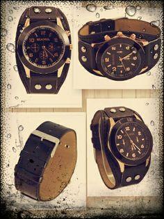 Reloj correa negra piel sintética tachuelas unisex - 8€ Ref: R107