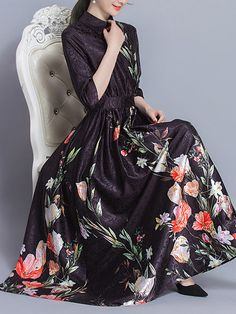 [US$89.59] Floral Printed High Waist Dress #floral #printed #high #waist #dress