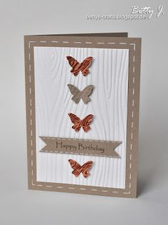 DIY birthday card with butterflies with simple video tutorial (German and English)