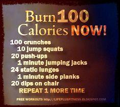 burn 100 calories fast