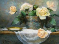 'Tin and Roses', painting by artist Justin Clements