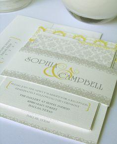 Gray and yellow wedding invitations,shabby chic wedding invitations, custom wedding stationery, damask design. $3.70, via Etsy.