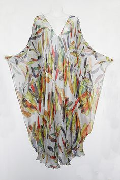 Floating Feathers Pure Silk Chiffon Full Length by MollyKaftans, $159.00