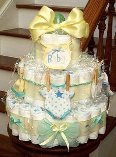 These are so fun! We've never received a diaper cake for either boys! I love this! Except the accent colors would be pastel pink!