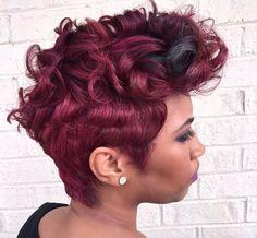 Natural Mohawk, Natural Hair Styles, Short Hair Styles, Short Hair Cuts For Women, Short Hairstyles For Women, Burgundy Hair Black Girl, Pin Up Curls, Retro Curls, Beautiful Black Hair