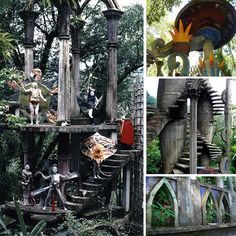 "Las Pozas surrealist garden in Xilitla, San Luis Potosí, Mexico / Las Pozas (""the Pools"") is a sculpture garden built by Edward James more than 2,000 feet (610 m) above sea level, in a tropical rain forest in the mountains of Mexico. It includes more than 80 acres (320,000 m2) of natural waterfalls and pools interlaced with towering Surrealist sculptures in concrete."