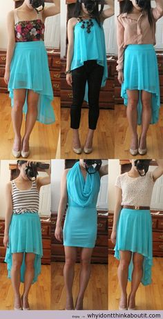 """How to wear a high low skirt. « whyidontthinkaboutit"" // I like it but I don't understand how the style in the middle of the lower row is possible...?o.O"