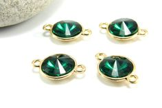 Faceted Bezel Connector 1pc Emerald Green Stone Connector Round Bezel Charm Connector Rhinestone Charm Connector Faceted Bezel Charm