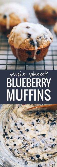 Whole Wheat Blueberry Muffins with a perfect butter glaze! These muffins are a must for a simple, classic brunch.