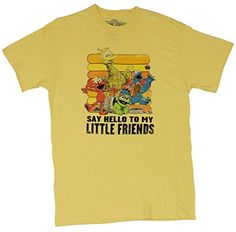 """Sesame Street Mens T-Shirt – """"Say Hello To My Little Friends"""" Cast Image  This black 100% cotton tee is perfect for fans of Sesame Street. Official Licensed Merchandise Official Licensed Merchandise Brand New Never Been Worn Official Licensed Merchandise Official Licensed Merchandise Brand New Never Been Worn Super Fast Shipping Official Licensed Merchandise Official Licensed Merchandise Brand New Never Been Worn Official Licensed Merchandise Official Licensed Merchandise Brand New N.."""