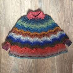 Купить Пончо для девочки - комбинированный, пончо, пончо вязаное, пончо спицами, вязание спицами