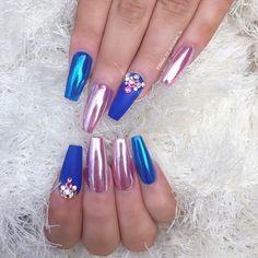 Blue & pink nails❤❤❤❤ #nails #love #beautiful
