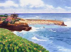Children's Pool In La Jolla by Mary Helmreich - Children's Pool In La Jolla Painting - Children's Pool In La Jolla Fine Art Prints and Posters for Sale